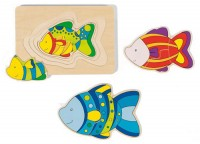 Goki - Fish 4-layer Wooden Puzzle