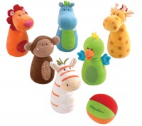 Lilliputiens - Safari Animal Plush Bowling Set